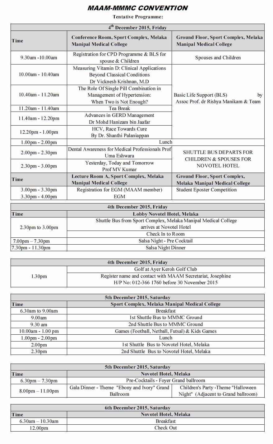 2015 Revised Itinerery