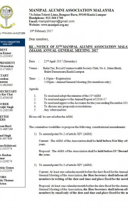 Notice of the 32nd MAAM Annual General Meeting