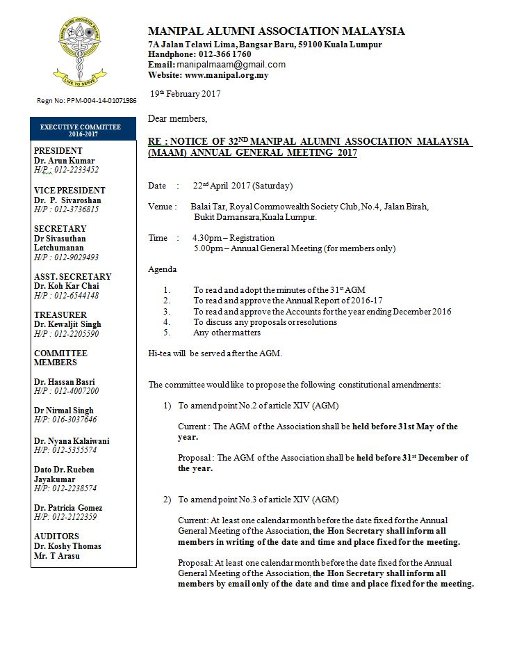 Notice Of The 32nd Maam Annual General Meeting Manipal Alumni Association Malaysia